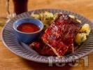 Рецепта Крехки и сочни свински ребра с марината от мед, горчица, кетчуп и соев сос печени под фолио на фурна